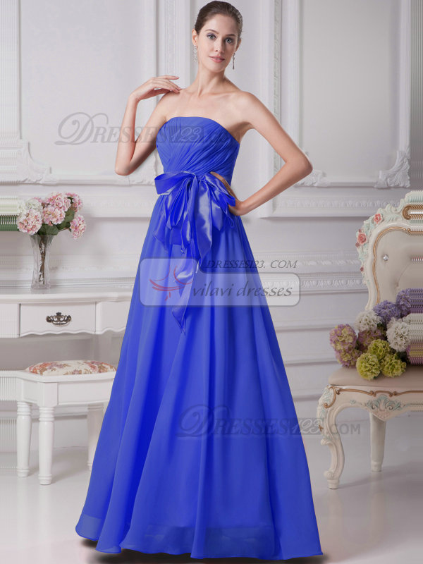 A-Line Chiffon Floor Length Tube Top Ruffle Sashes Royal Blue Bridesmaid Dresses