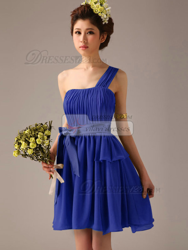 A-Line One Shoulder Bowknot Sash Royal Blue Pleats Short ...
