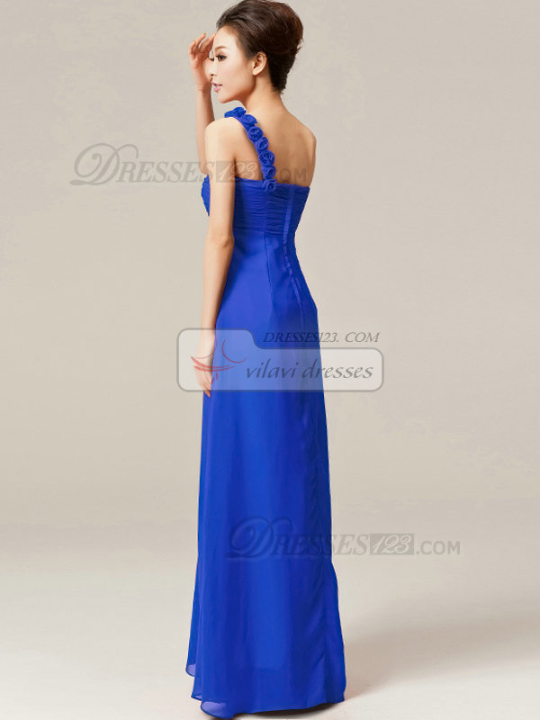 Column One Shoulder with Flowers Floor Length Ruched Royal Blue Bridesmaid Dresses