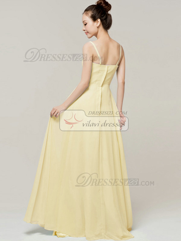 Column Floor Length Spaghetti Straps Draped Daffodil Bridesmaid Dresses