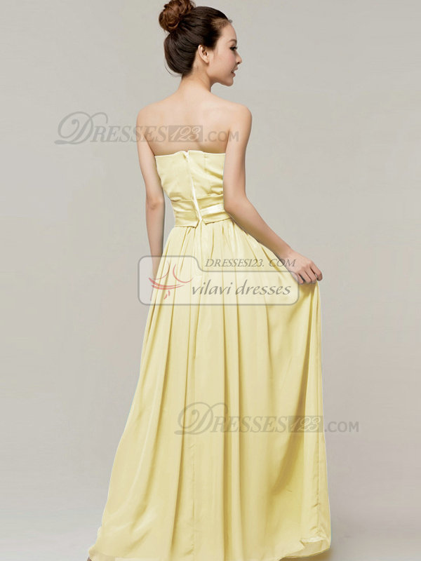 Column Sweetheart Strapless Ribbons Floor Length Daffodil Bridesmaid Dresses