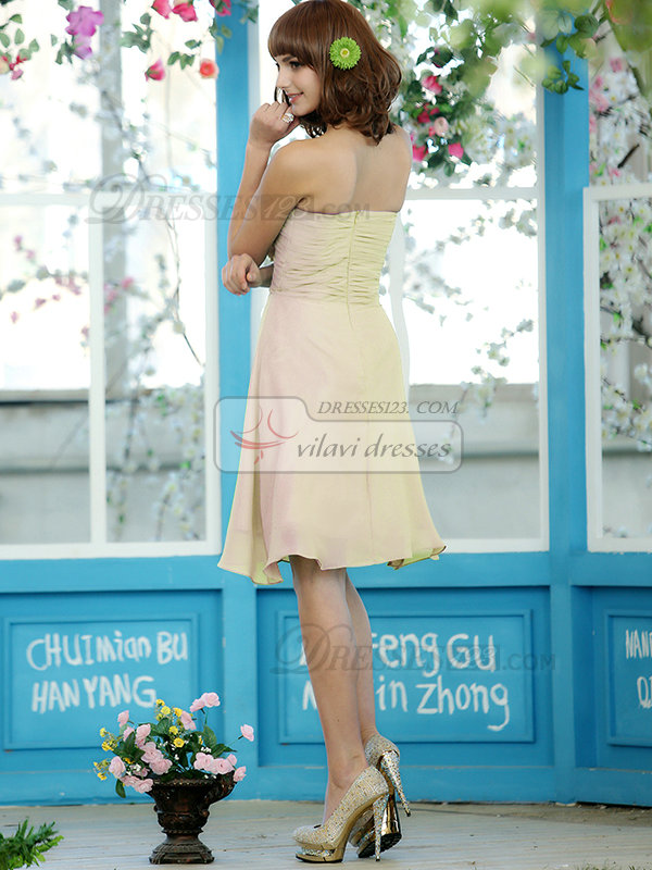 Ruched A-line Chiffon Sweetheart Knee-length Sage Flower Light Champagne Bridesmaid Dresses