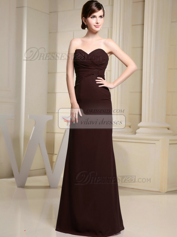 Column Chiffon Sweetheart Floor-length Ruched Chocolate Bridesmaid Dresses