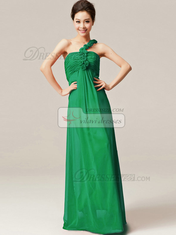Column One Shoulder with Flowers Floor Length Ruched Hunter Bridesmaid Dresses