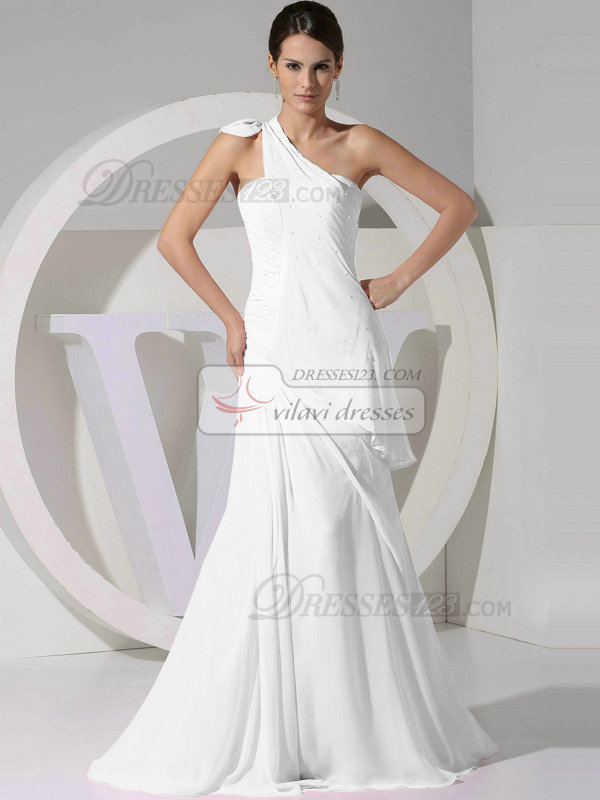 A-line Chiffon One Shoulder Tiered Draped White Bridesmaid Dresses