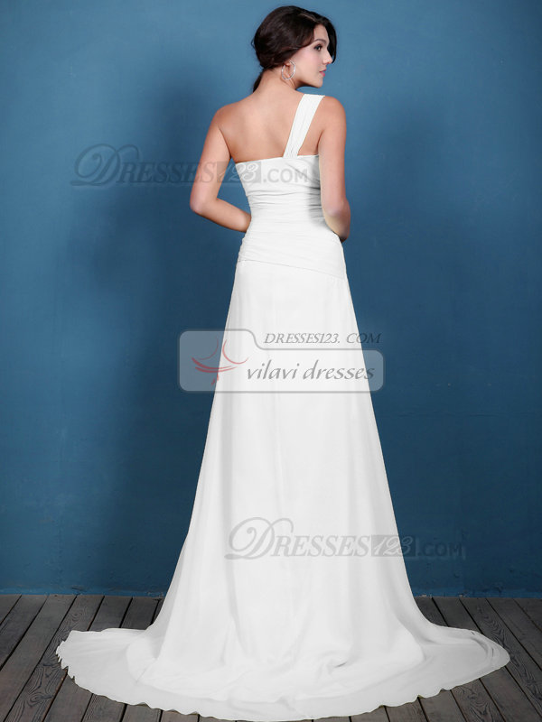 A-line Chiffon Ruched One Shoulder Sweep White Bridesmaid Dresses