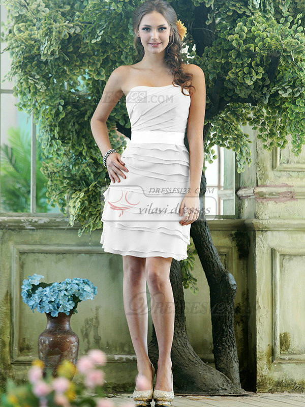 Sheath Chiffon Strapless Short Tiered Sash  White Bridesmaid Dresses