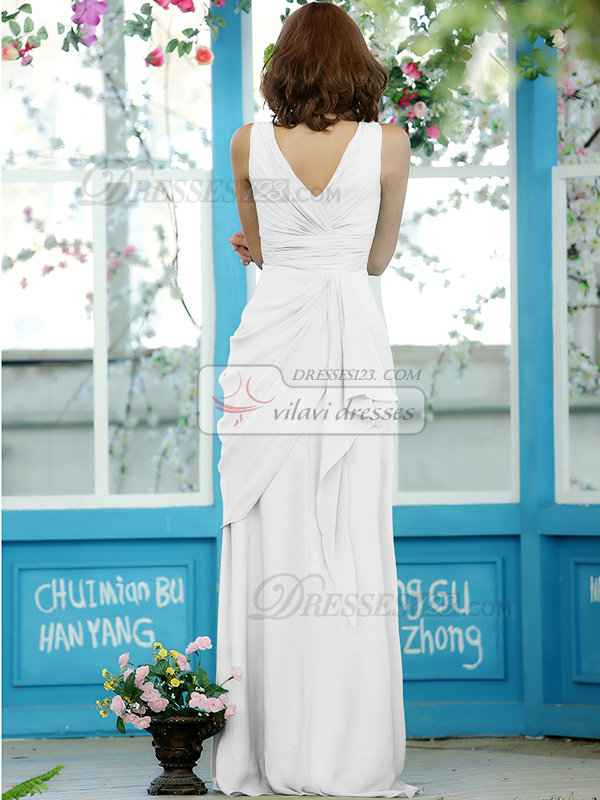 Ruched Sheath Chiffon Straps Floor-length White Draped Bridesmaid Dresses