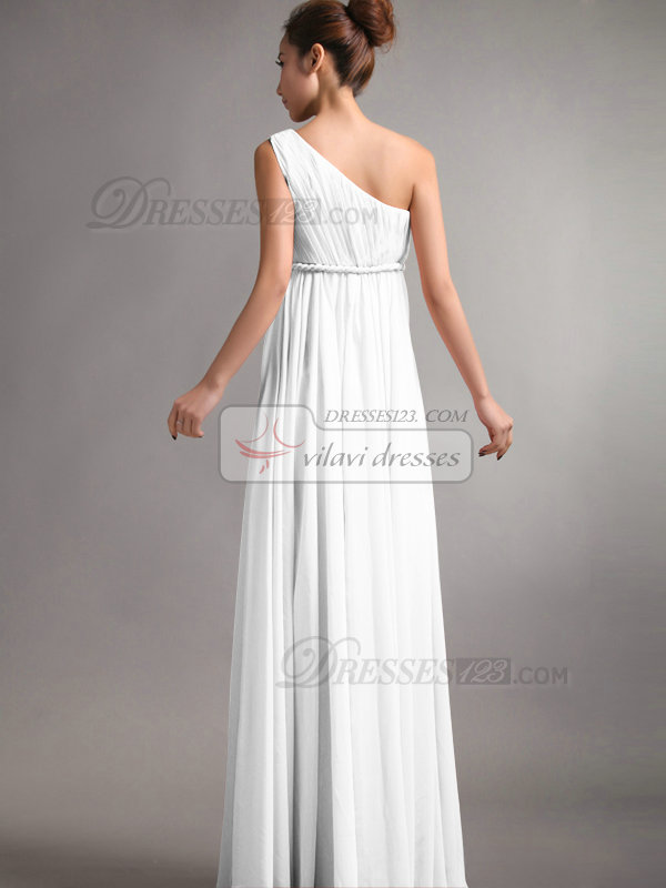 A-Line One Shoulder Floor Length Draped White Bridesmaid Dresses
