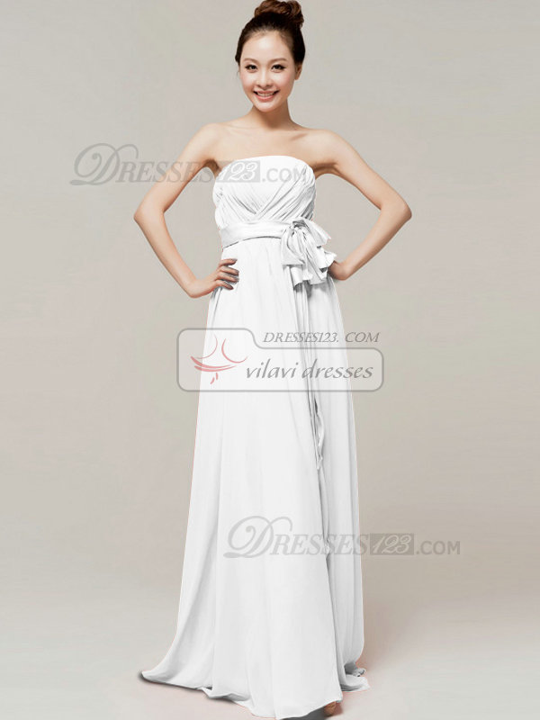 Noble A-Line Floor Length Wrap Pleats Tube Top Strapless Sashes White Bridesmaid Dresses