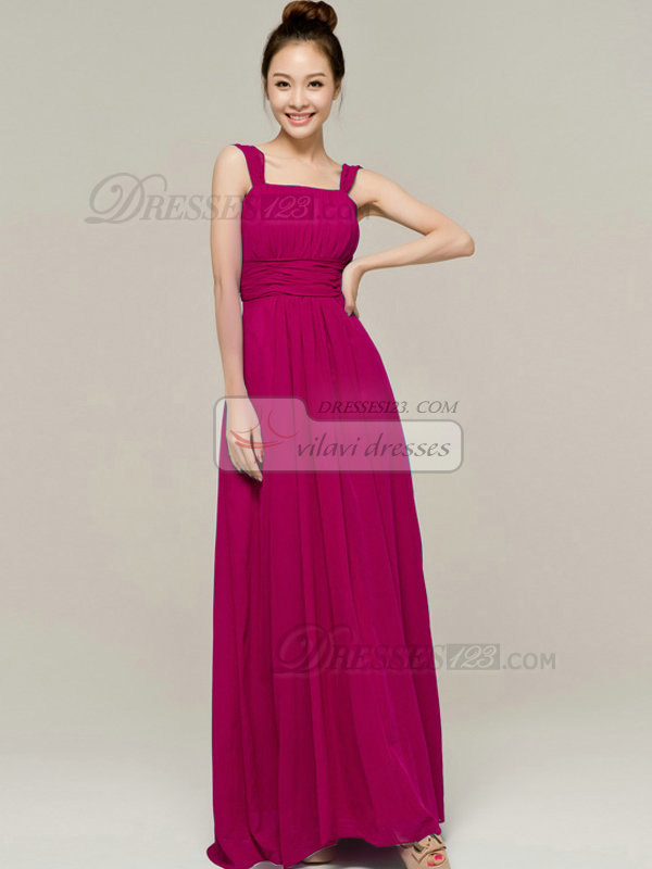 Column Tube Top Straps Floor length Ruched Fuchsia Bridesmaid Dresses