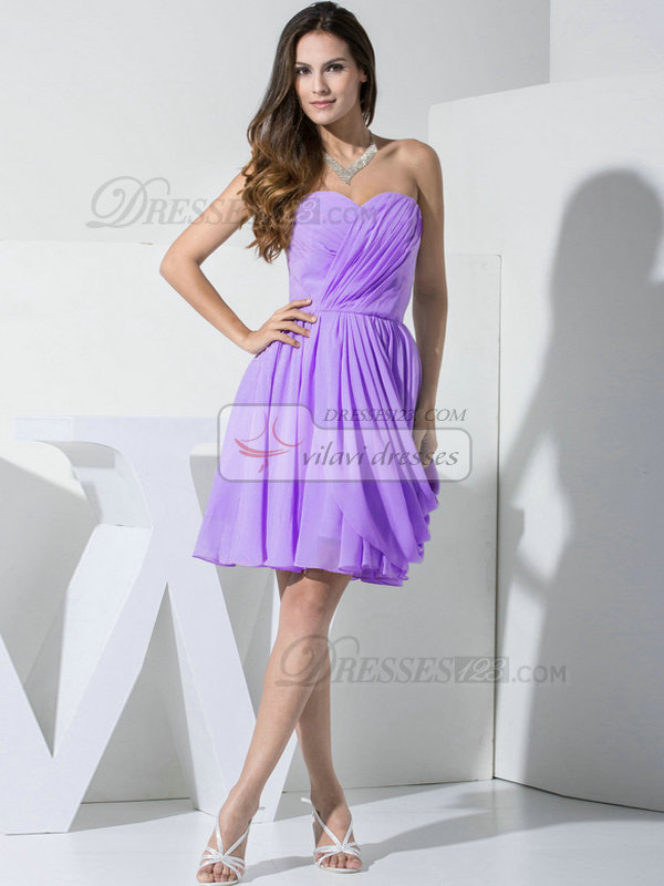 A-line Chiffon Sweetheart Ruffles Wrap Pleats Lilac Bridesmaid Dresses