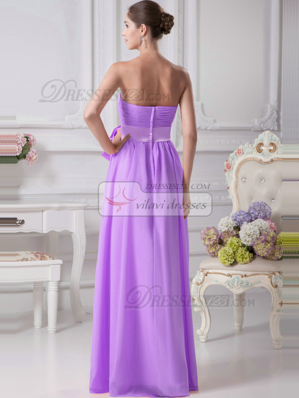 A-Line Chiffon Floor Length Tube Top Ruffle Sashes Lilac Bridesmaid Dresses