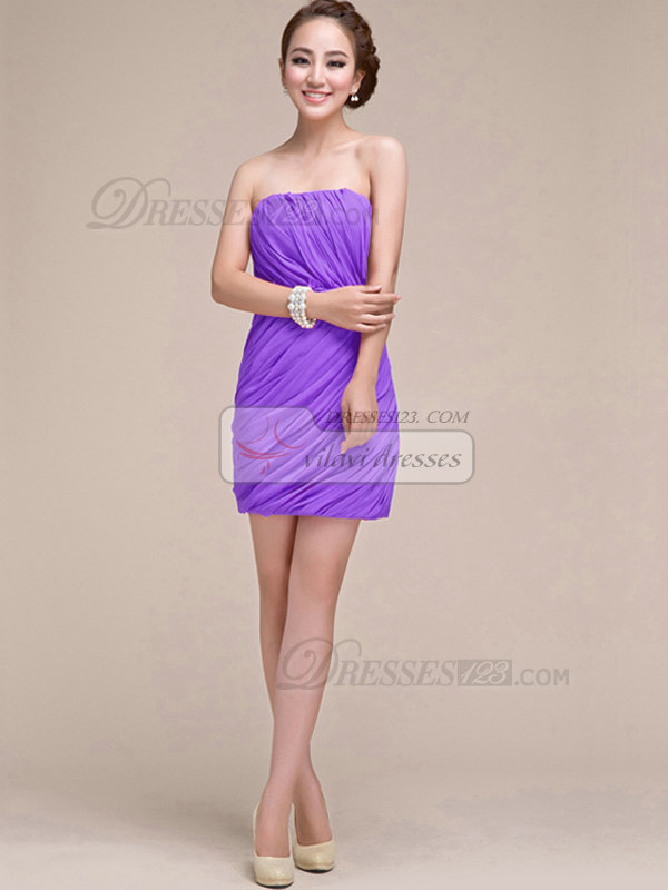 Sheath Ruched Tube Top Strapless Short Lilac Bridesmaid Dresses