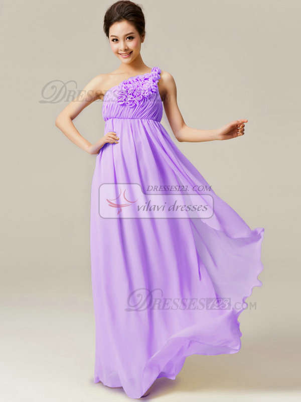 A-Line Floor Length One Shoulder Flowers Lilac Bridesmaid Dresses ...