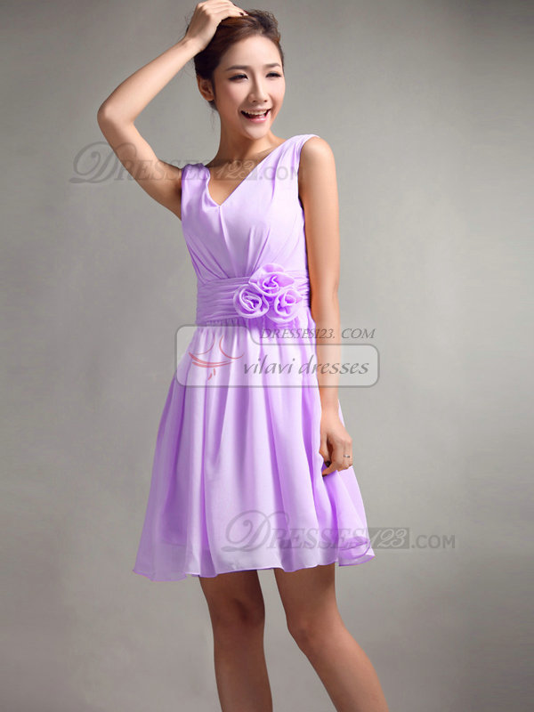 A-Line V-neck Straps Flower Sash Draped Short Lilac Bridesmaid ...