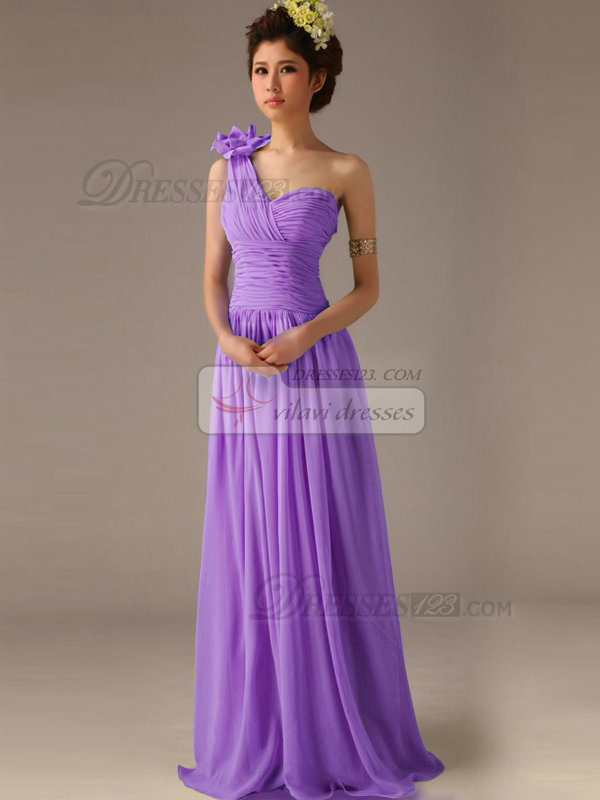 A-Line One Shoulder with Flower Floor Length Wrap Pleats Lilac ...