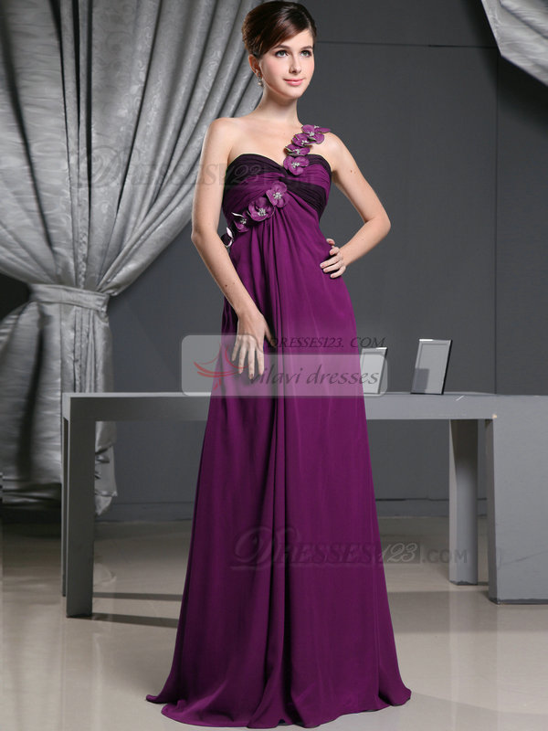 A-line Chiffon One Shoulder with Flowers Sweep Train Grape ...