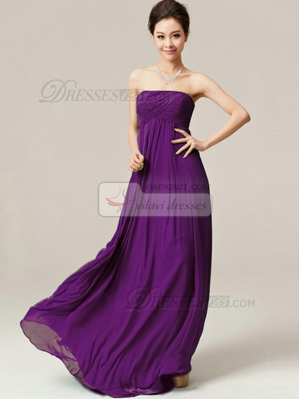 A-Line Floor Length Wrap Pleats Strapless Draped Grape Bridesmaid Dresses
