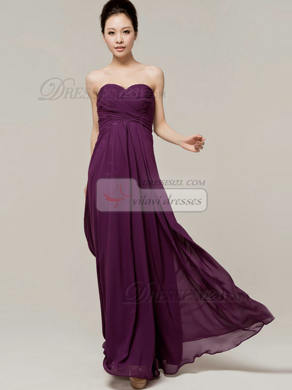 Column Sweetheart Floor Length Strapless Draped Grape Bridesmaid ...