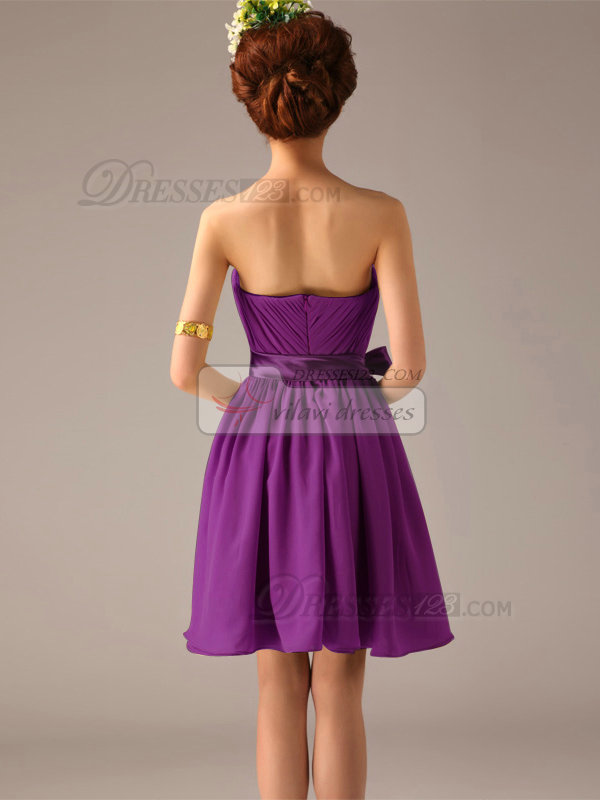 A-Line One Shoulder Bowknot Sash Grape Pleats Short Bridesmaid Dresses