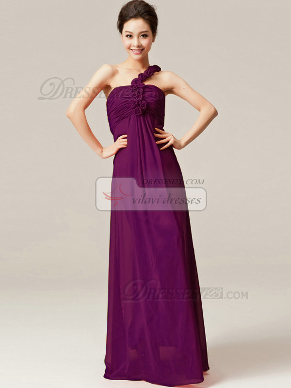 Column One Shoulder with Flowers Floor Length Ruched Grape Bridesmaid Dresses