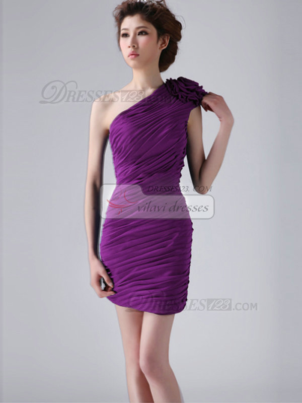 Sheath One Shoulder with Flower Short Ruched Grape Bridesmaid Dresses