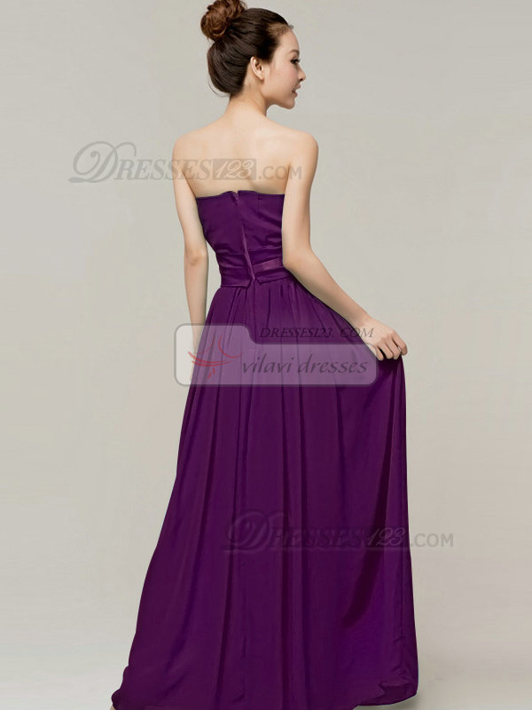 Column Sweetheart Strapless Ribbons Floor Length Grape Bridesmaid Dresses