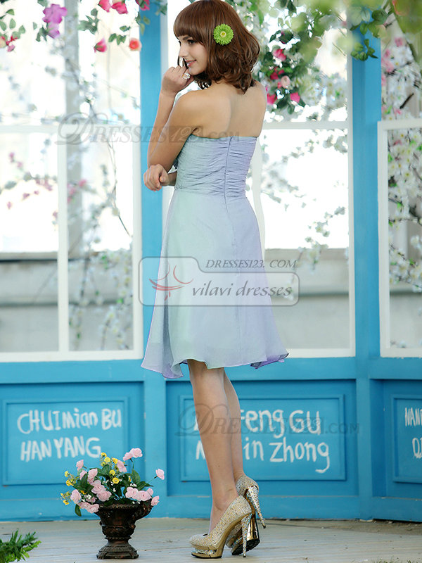 Ruched A-line Chiffon Sweetheart Knee-length Light Sky Blue Bridesmaid Dresses