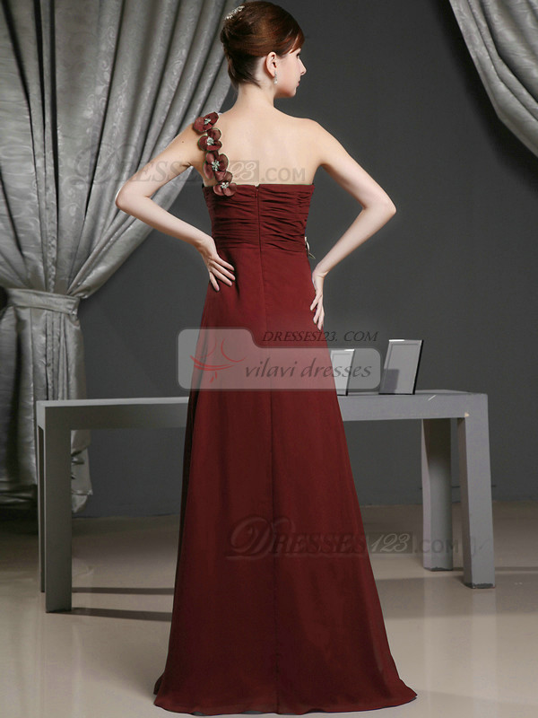 A-line Chiffon One Shoulder with Flowers Sweep Train Burgundy Bridesmaid Dresses