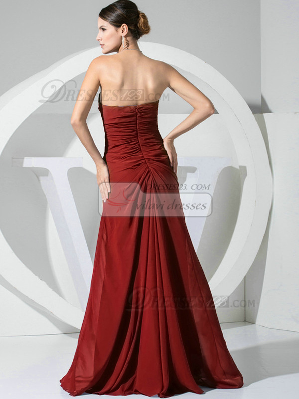 A-line Chiffon Floor Length Ruched Burgundy Bridesmaid Dresses with Flowers