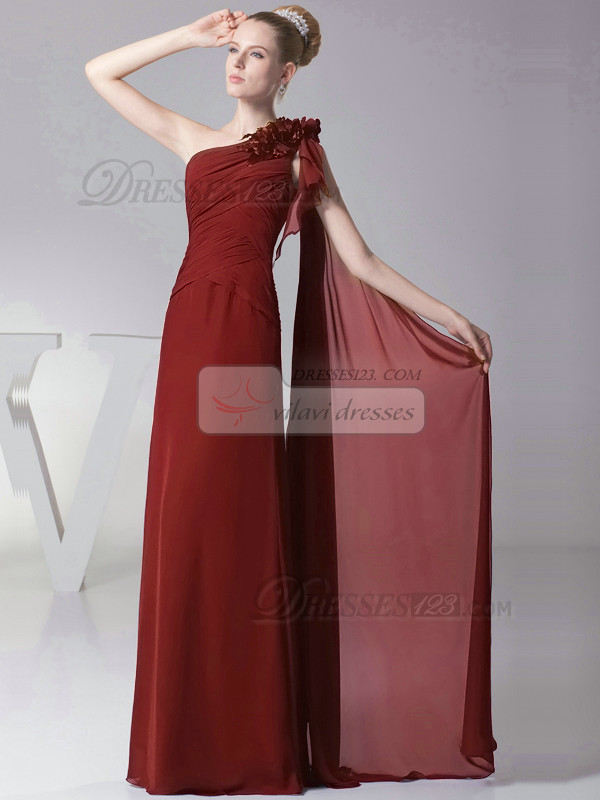 Column One shoulder with Flowers Floor Length Burgundy Bridesmaid Dresses
