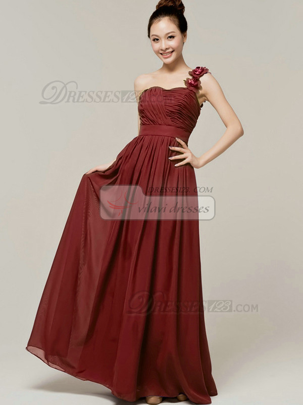 A-Line Sweetheart One shoulder with Flowers Wrap Pleats Burgundy Bridesmaid Dresses