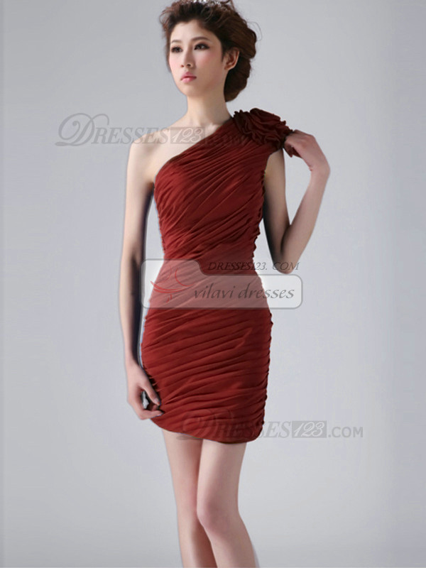 Sheath One Shoulder with Flower Short Ruched Burgundy Bridesmaid Dresses