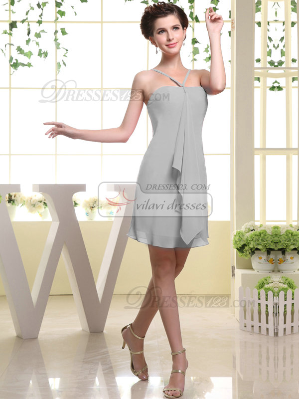 Sheath Chiffon Tube Top Spaghetti Straps Ruffle Short Silver Bridesmaid Dresses