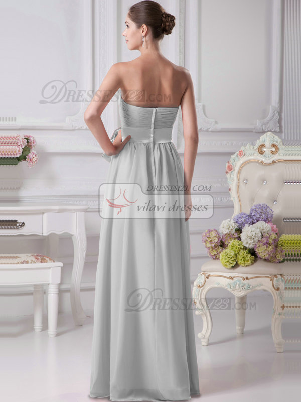 A-Line Chiffon Floor Length Tube Top Ruffle Sashes Silver Bridesmaid Dresses