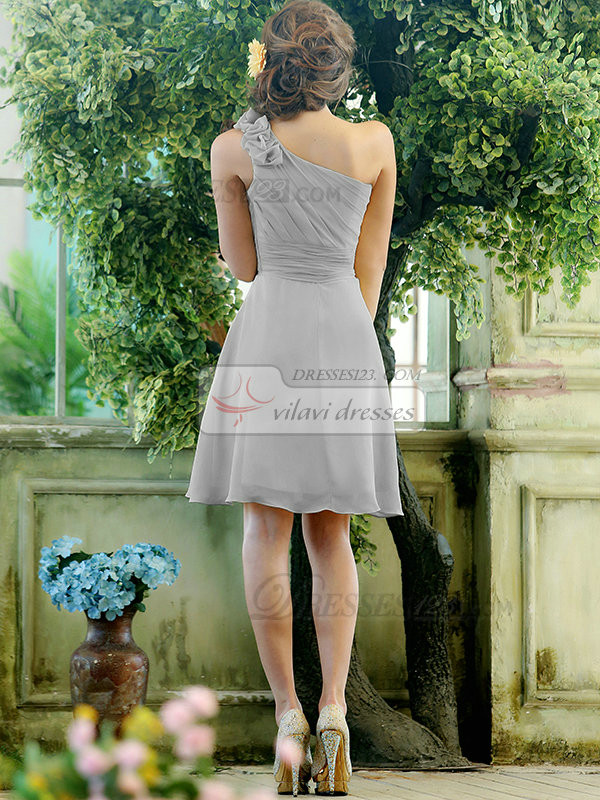 A-line Chiffon One shoulder with Flowers Knee-length Silver Bridesmaid Dresses