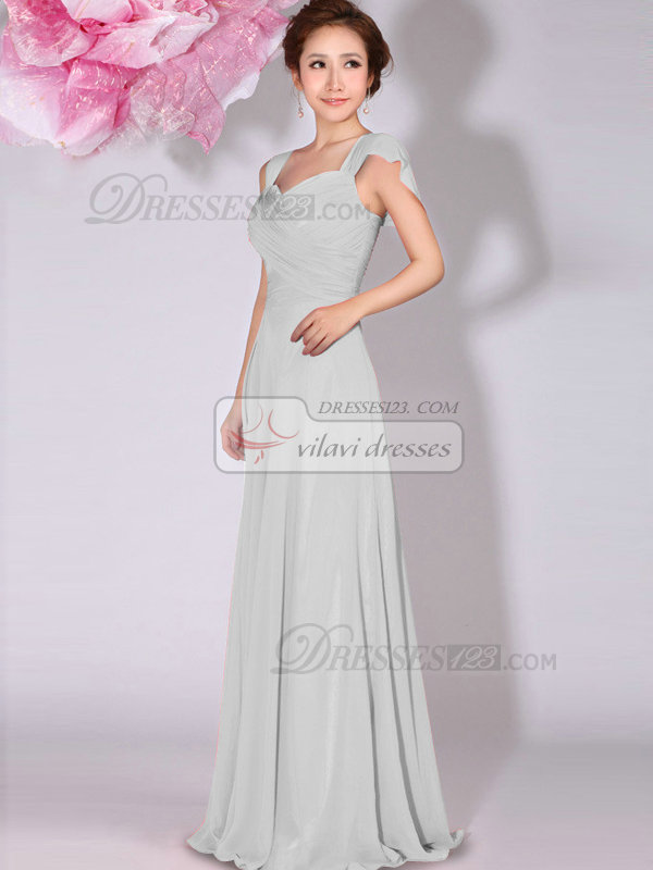 A-Line Sweetheart Straps Draped Floor Length Silver Bridesmaid Dresses