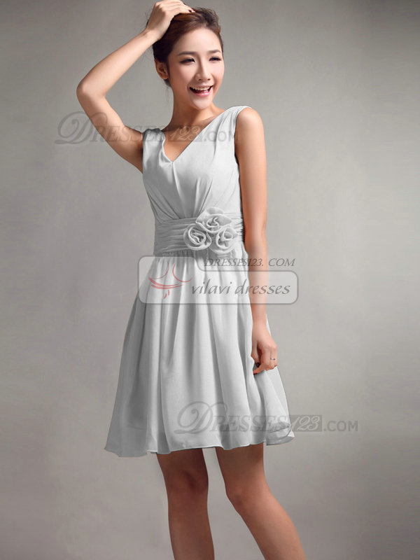 A-Line V-neck Straps Flower Sash Draped Short Silver Bridesmaid Dresses