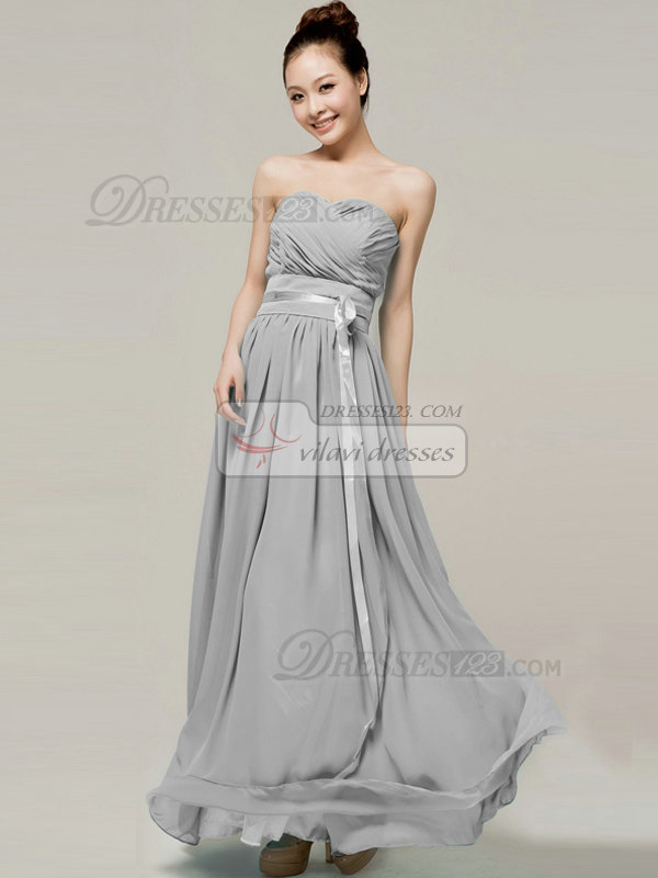 Column Sweetheart Strapless Ribbons Floor Length Silver Bridesmaid Dresses