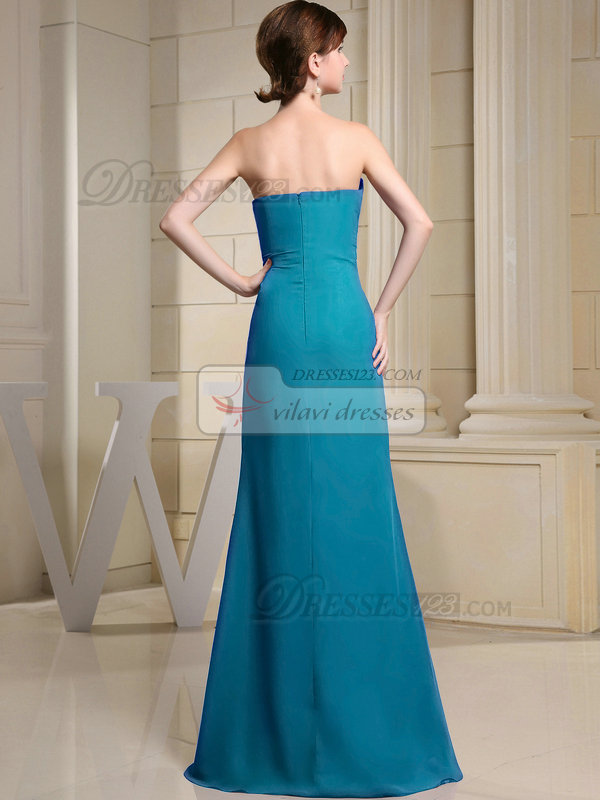Column Chiffon Sweetheart Floor-length Ruched Blue Bridesmaid Dresses