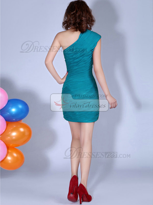 Sheath One Shoulder Ruched Short Blue Bridesmaid Dresses