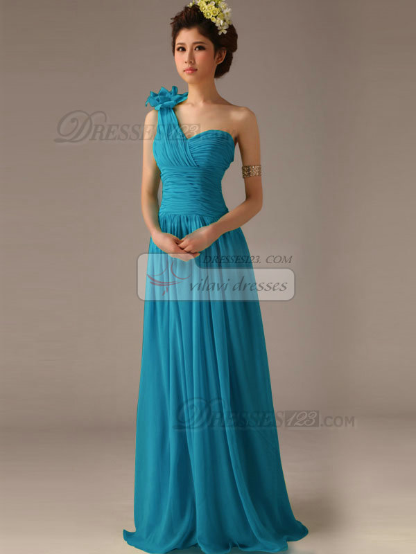 A-Line One Shoulder with Flower Floor Length Wrap Pleats Blue Bridesmaid Dresses