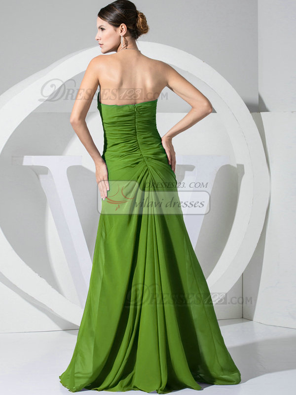 A-line Chiffon Floor Length Ruched Green Bridesmaid Dresses with Flowers