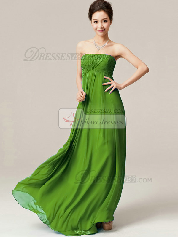 A-Line Floor Length Wrap Pleats Strapless Draped Green Bridesmaid Dresses