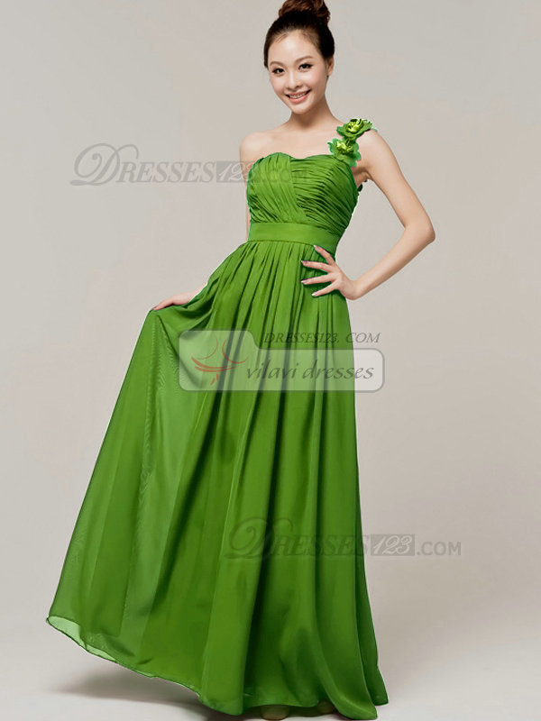 A-Line Sweetheart One shoulder with Flowers Wrap Pleats Green Bridesmaid Dresses