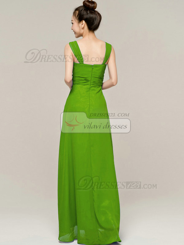 Column Tube Top Straps Floor length Ruched Green Bridesmaid Dresses