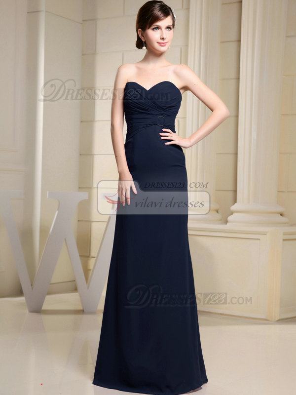 Column Chiffon Sweetheart Floor-length Ruched Dark Navy Bridesmaid Dresses