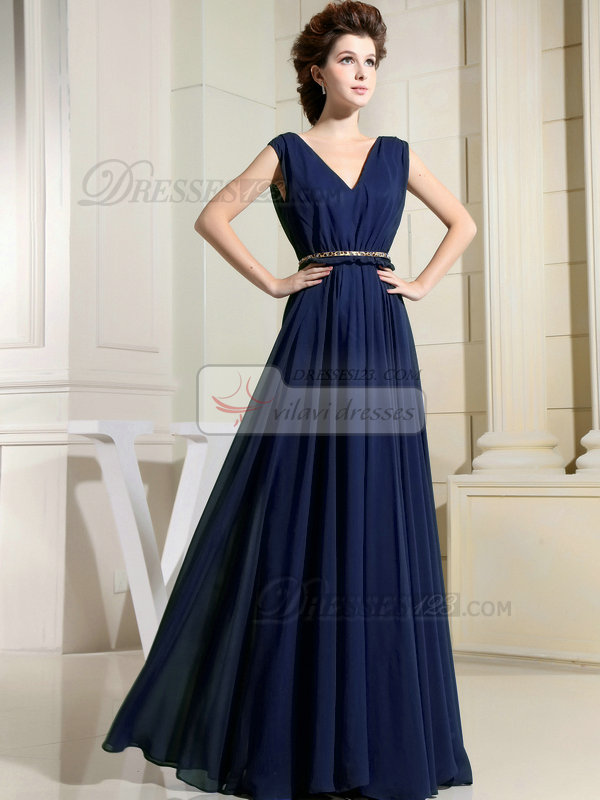 Column Chiffon V Neck Floor Length D Dark Navy Bridesmaid Dresses