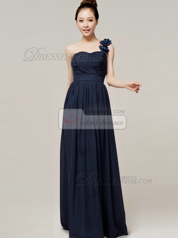 A-Line Sweetheart One shoulder with Flowers Wrap Pleats Dark Navy Bridesmaid Dresses